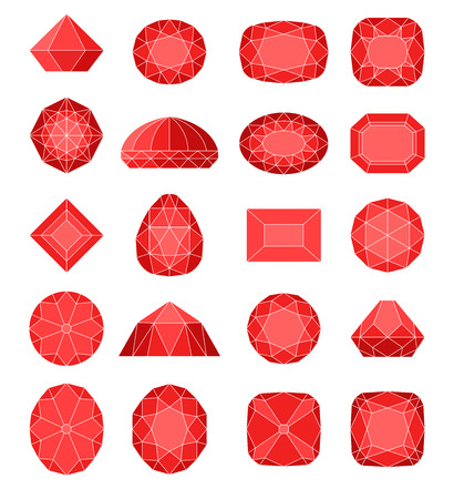 Diamond symbols. Red gems isolated on white background. Vector illustration. Illustration