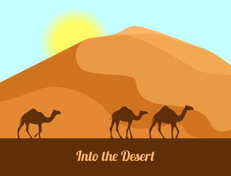 Paesaggio desertico Siluette del cammello sulla priorità bassa della sabbia. Nel deserto. Illustrazione vettoriale in stile piatto