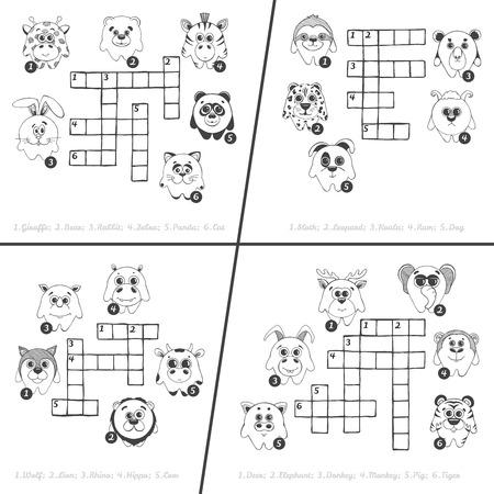 Crucigrama De Dibujos Animados Para Niños De Colores, Juego De La ...