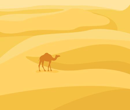 gobi: Into the desert: Desert landscape. Camel silhouette on sand background. Vector illustration in flat style. Illustration