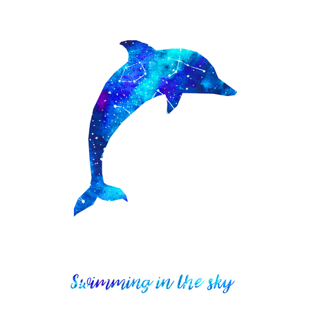 neon fish: Silhouette of dolphin. Starry sky with different constellations. Hand draw watercolor. Card. Swimming in the sky. Stock Photo