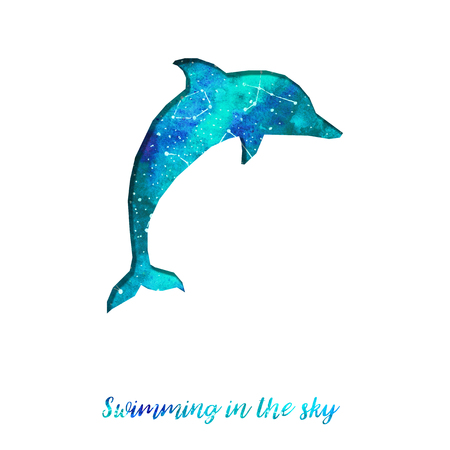 Silhouette of dolphin cut out of paper. Starry sky with different constellations. Hand draw watercolor. Card. Swimming in the sky.  Stock Photo