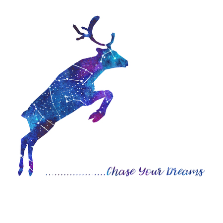 Silhouette of deer. Starry sky with different constellations. Hand draw watercolor. Card. Chase Your dreams.  Stock Photo
