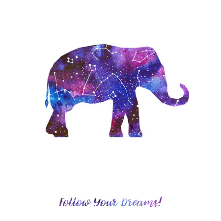 Silhouette of elephant. Starry sky with different constellations. Hand draw watercolor. Card. Follow Your dreams.