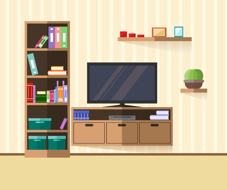 flat screen tv: Design TV zone in a flat style. Interior living room with furniture, tv and shelf. Vector illustration