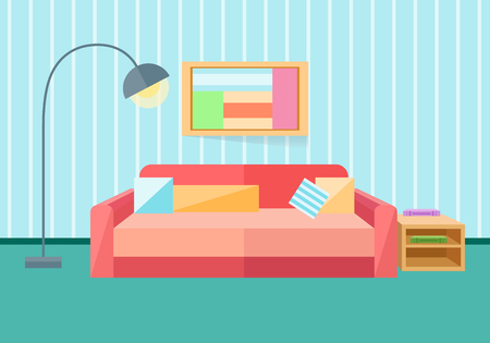 red sofa: Interior in a flat style. Sofa, lamp. Vector illustration in a flat style.