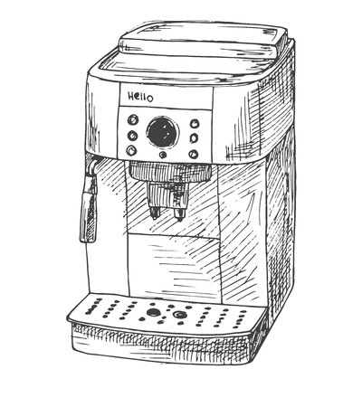 Coffee machine isolated on white background. Vector illustration of a sketch style. Ilustrace