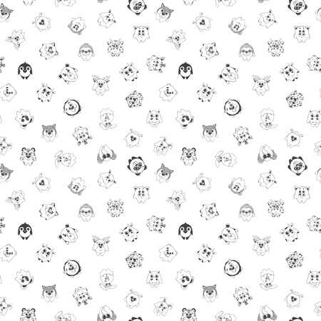 silueta de gato: Seamless pattern with different cute animals. Childrens pattern for decoration.  illustration of a sketch style.