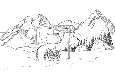 Mountain landscape. Tents and a bonfire on the background of the forest and mountains. Vector illustration of a sketch style. Stock Illustratie