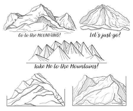 hiking: Set of different pictures with mountains.  Vector illustration of a sketch style.