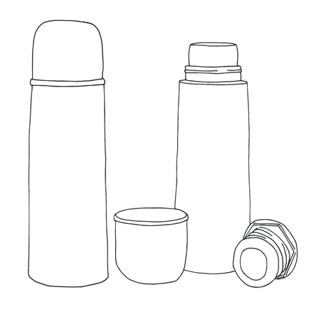 Sketch of a thermos. Vector illustration. Isolated on white background. Illustration