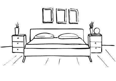 Vettoriale La Stanza Dei Bambini Nell Angolo Della Stanza E Un Letto Accanto Ad Un Armadio A Un Tavolo Alla Sedia Illustrazione Vettoriale In Uno Stile Di Schizzo Image 80021520
