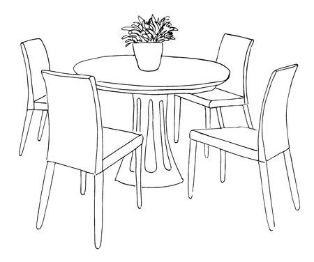 open floor plan: Part of the dining room. Round table and chairs.On the table vase of flowers.  Hand drawn sketch.Vector illustration.