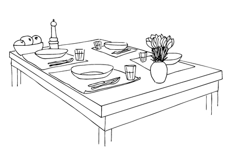 countertop: Served table. Plates, glasses, knives, forks and a vase with flowers on the table. Hand drawn sketch of the table. Vector illustration.