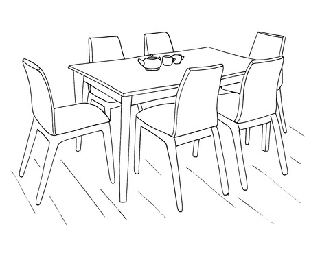#78190149   Table And Chairs. On The Table Are Two Cups. Hand Drawn  Sketch.Vector Illustration.