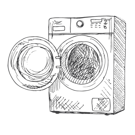 Washing machine isolated on white background. Vector illustration of a sketch style.