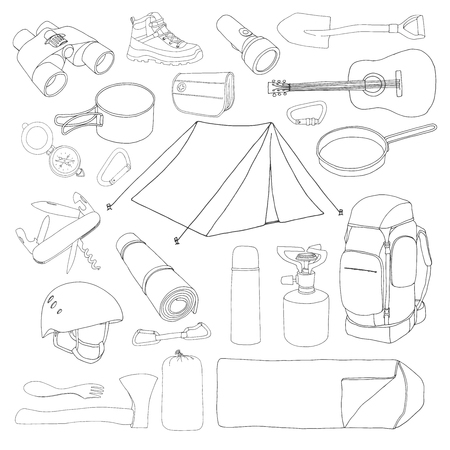 Tourism and camping set. Hand drawn vector illustration of a sketch style.