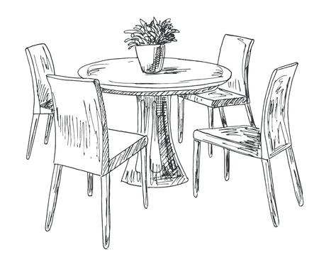 Chaises Vectorielle Une À MainIllustration Partie Vase TableCroquis Salle Dessinés De sur La Ronde Le Fleurs MangerTable Et 9DHIE2