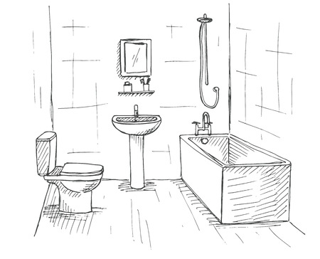 bleach: Hand drawn sketch. Linear sketch of an interior. Part of the bathroom. Vector illustration