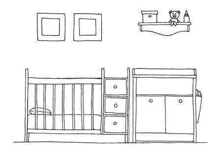 Cuarto De Los Niños. Muebles Para Niños Litera, Mesa Y Dos Sillas ...