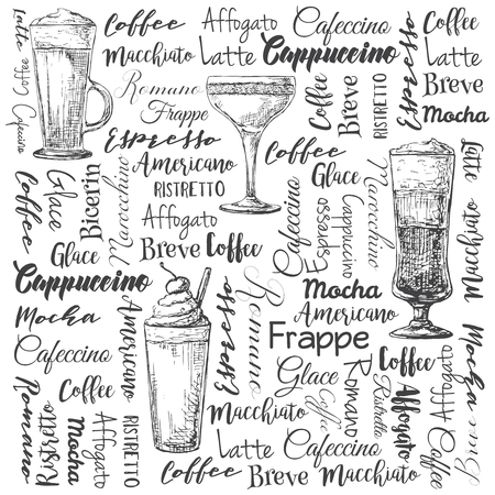 coffee beans: The names of different types of coffee. Different coffee cocktails. Vector illustration of a sketch style.