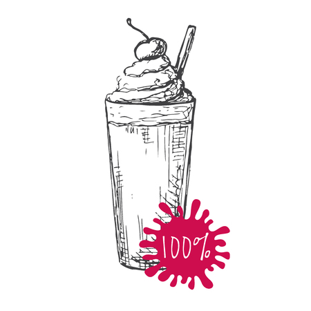 glace: Hand drawn coffee cocktail isolated on white background. Vector illustration of a sketch style.