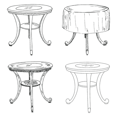 platen: Sketch set isolated furniture. Different  tables. Linear black tables on a white background. Vector illustration. Illustration