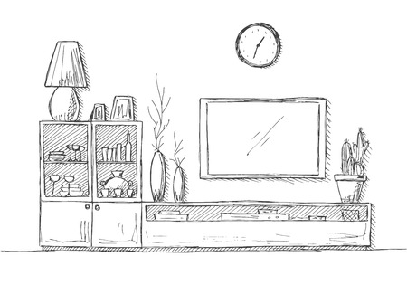 Linear sketch of the interior. Bookcase, dresser with TV and shelves.  Hand drawn vector illustration of a sketch style.