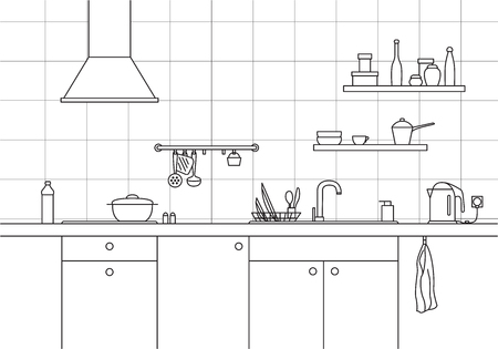 countertop: Kitchen sink. Kitchen worktop with sink, kitchen hood and plate in line style.