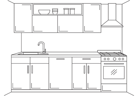countertop: Modern kitchen. Kitchen furniture with sink, hob and extractor. Vector illustration in a linear style. Illustration