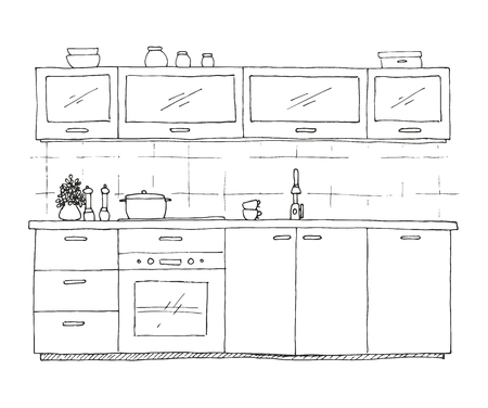 countertop: Hand drawn kitchen furniture. Vector illustration in sketch style