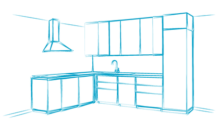 countertop: Hand drawn kitchen furniture. Vector illustration. Sketch drawn by a blue pen.