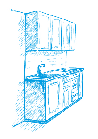 bleach: Hand drawn kitchen furniture. Vector illustration. Sketch drawn by a blue pen.