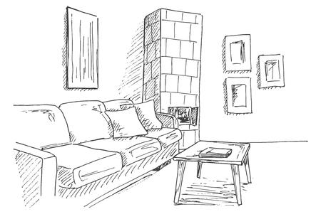 방의 구석에 소파, 테이블 및 기와 난로 거실. 스케치 스타일의 벡터 일러스트 레이 션.