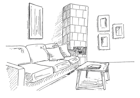 Living room with sofa, table and tiled stove in the corner of the room. Vector illustration of a sketch style. Illusztráció