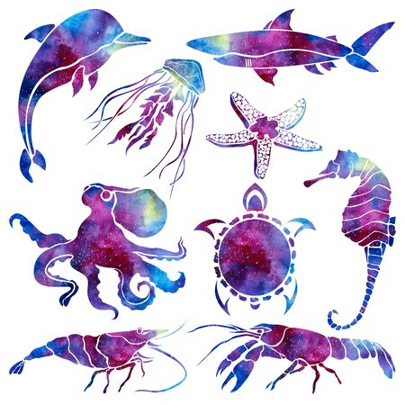 Silhouettes of different marine life. Space background. Hand drawn watercolor illustration.