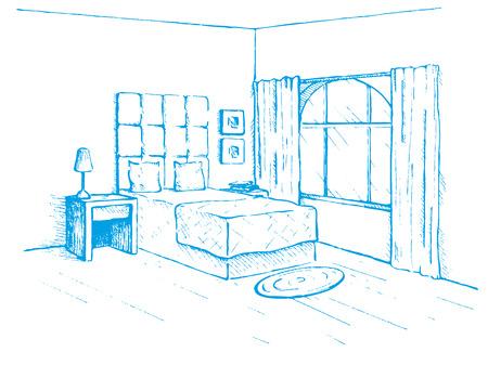 simple frame: Sketch drawn by a blue pen. Room plan. Sketch Line bedrooms. Vector illustration. Illustration