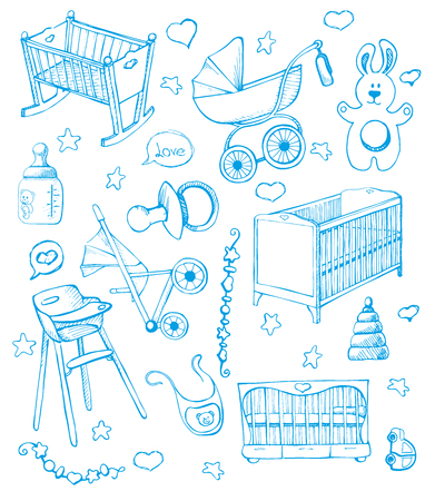 Set childrens furniture. Vector illustration. Sketch different for child cots and prams. Illustration