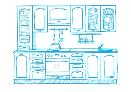 Hand drawn retro kitchen furniture. Vector illustration in sketch style Çizim