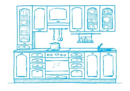 Hand getrokken retro keukenmeubilair. Vector illustratie in schets stijl