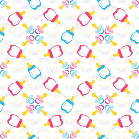 Baby bottle and Babys dummy. Comforter seamless pattern background. Kids seamless pattern. EPS 10 Illustration