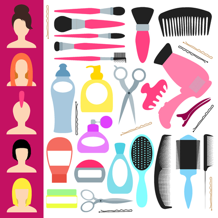 Icons for haircuts and styling. Vector illustration in flat style