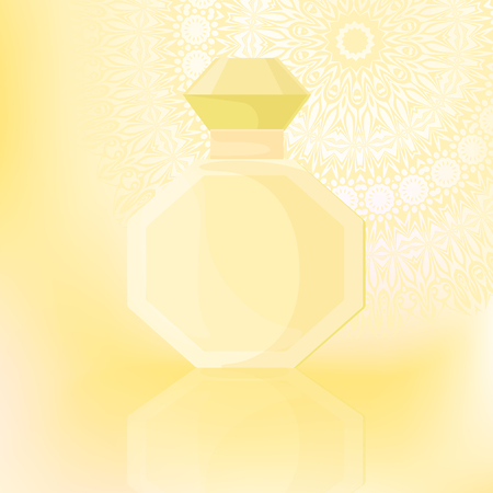 fragrances: Bottle of perfume on a gentle background with ornaments. Vector illustration.