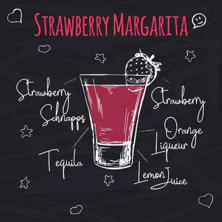 Receta sencilla para un cóctel alcohólico Margarita de fresa. Dibujo de tiza en una pizarra. Ilustración vectorial de un estilo de boceto. Ilustración de vector