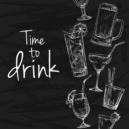 carbonated beverage: Background with different cocktails. Drawing chalk on a blackboard. Caption: time to drink. Place on your text. Vector illustration of a sketch style.