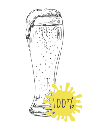 Hand drawn a glass of beer isolated on white background. Vector illustration of a sketch style.