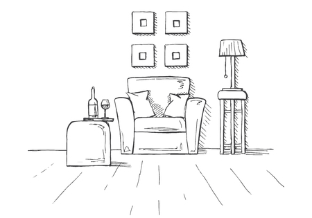 Armchair, coffee table with a glass and bottle. Lamp on a high stool. Hand drawn vector illustration of a sketch style. Illustration