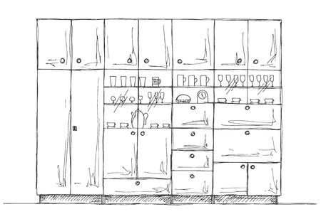 closet door: Retro wall unit.  Hand drawn vector illustration of a sketch style.