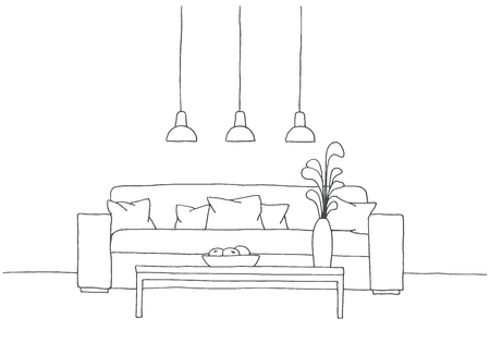 nightstand: Sofa with pillows, a vase on the table. Three low-hanging lamp over the table. Hand drawn vector illustration of a sketch style Illustration