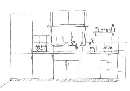 Schets keuken met een raam. Vectorillustratie in een schetsstijl.
